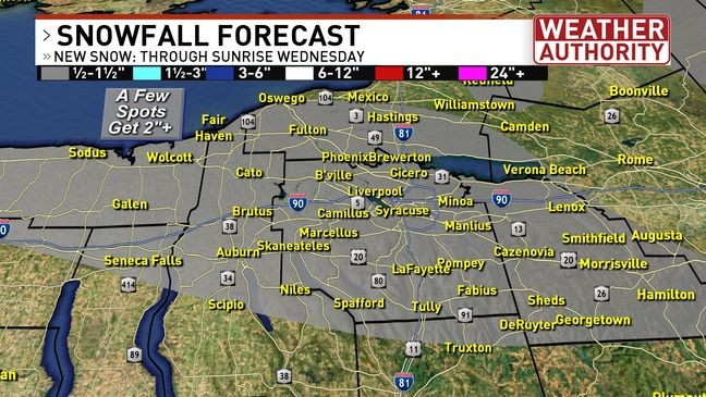 Lake Effect Snow And Gusty Wind Will Create Localized Problems For Parts Of Cny Wstm