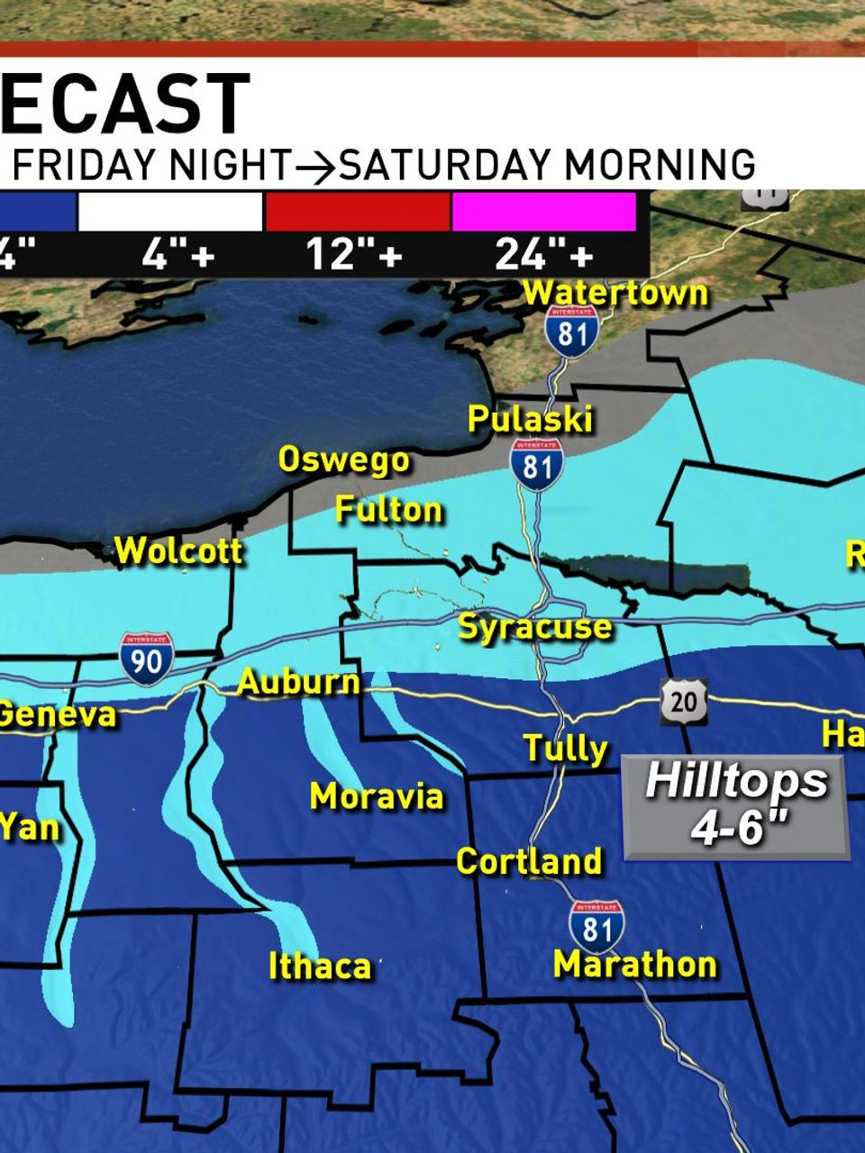 Winter Weather Advisory For Parts Of Cny Friday Night With Accumulation Variation Wstm