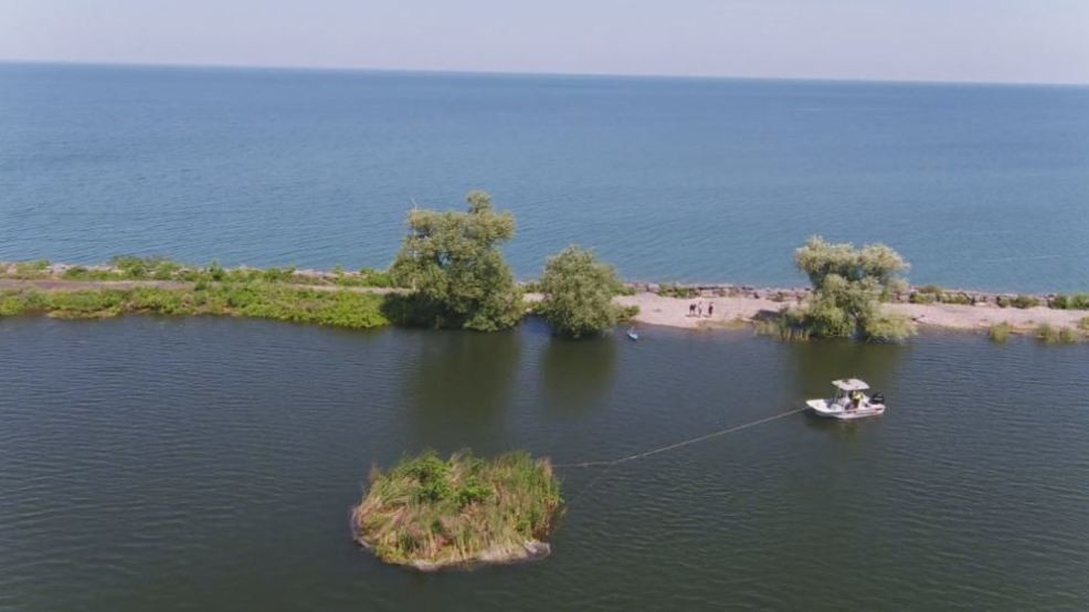 Land masses floating off Lake Ontario being used to help shoreline