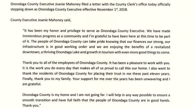 Mahoney files letter of resignation from Onondaga County